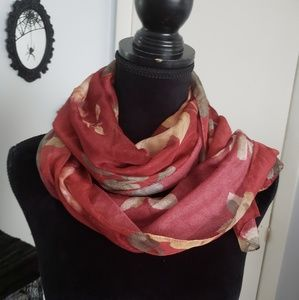 Red floral chiffon scarf. One size